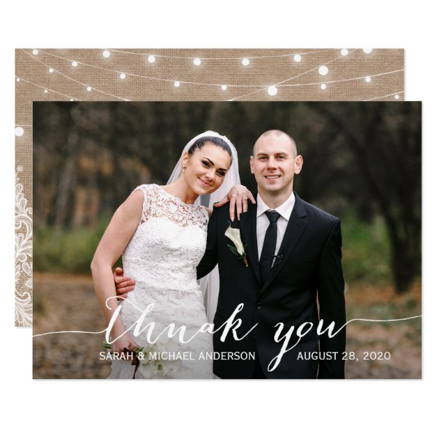 Burlap Lace String Lights Wedding Photo Thank You Card