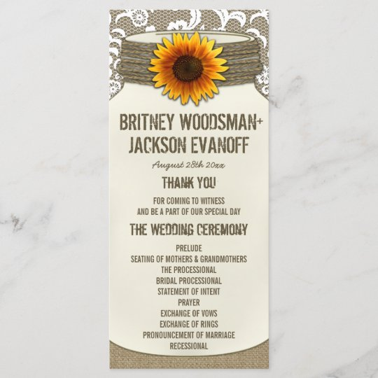 Burlap Lace Sunflower Mason Jar Wedding Programs