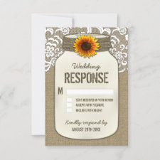 Burlap Lace Sunflower Mason Jar Wedding RSVP Cards