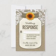 Burlap Lace Sunflower Mason Jar Wedding RSVP Cards