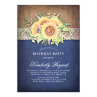 Burlap Lace Sunflower Navy Rustic Birthday Party Card