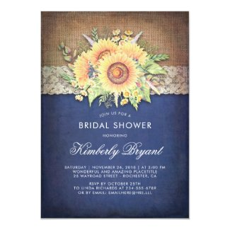 Burlap and Lace Rustic Sunflower Navy Blue Bridal Shower Invitations