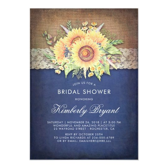 da7dbfa86d20 Burlap Lace Sunflower Navy Rustic Bridal Shower Invitation