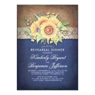 Burlap and Lace Rustic Sunflower Navy Blue Rehearsal Dinner Invitations