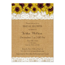Burlap Lace Sunflowers Rustic Bridal Shower Invite