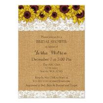 Burlap Lace Sunflowers Rustic Bridal Shower Invite
