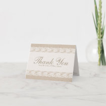 Burlap & Lace Thank You Card