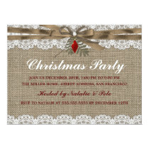 Burlap & Lace Vintage Christmas Party Invite