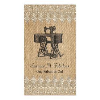 Burlap Lace Vintage Sewing Machine Double-Sided Standard Business Cards (Pack Of 100)