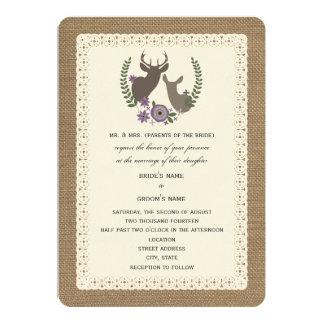 Burlap + Lace Wedding Buck + Doe Deer - Purple 5x7 Paper Invitation Card