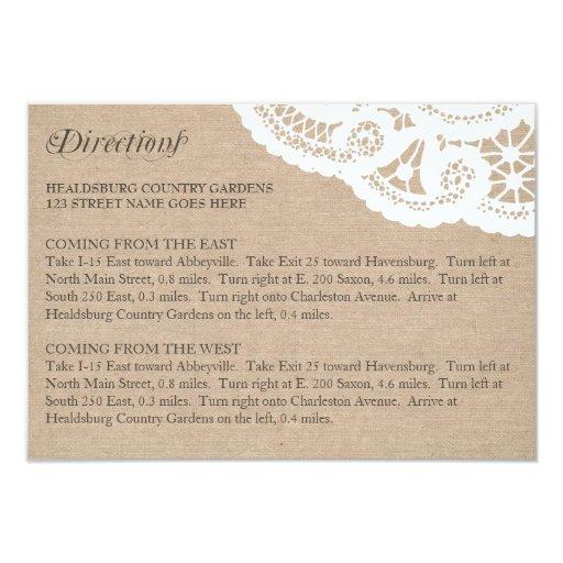 Burlap Lace Wedding Directions Enclosure Card