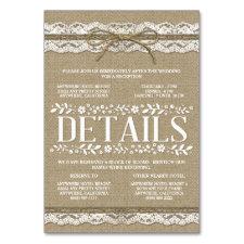 Burlap Lace Wedding Reception Hotel Accommodation Table Cards