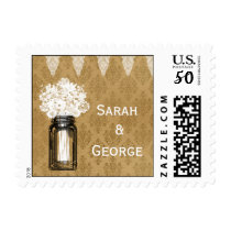 Burlap Lace Wildflowers Mason Jar Country Wedding Postage