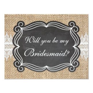 Burlap Lace Will You Be My Bridesmaid Card
