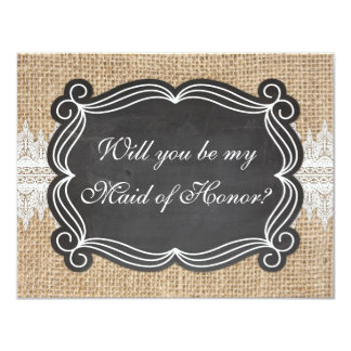 Burlap Lace Will You Be My Maid of Honor Card