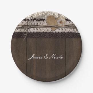 Burlap And Wood Plates | Zazzle