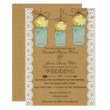 Burlap Lace yellow hydrangeas mason jars invites