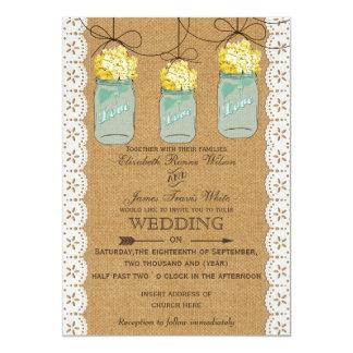 "Burlap Lace yellow hydrangeas mason jars invites 5"" X 7"" Invitation Card"