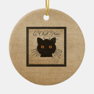 Burlap Le Chat Noir French The Black Cat Ceramic Ornament