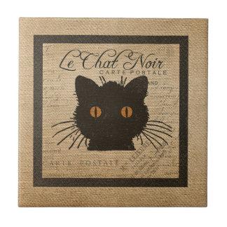 Burlap Le Chat Noir French The Black Cat Ceramic Tile
