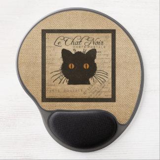 Burlap Le Chat Noir French The Black Cat Gel Mouse Pad