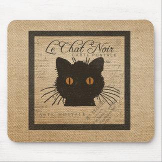 Burlap Le Chat Noir French The Black Cat Mouse Pad
