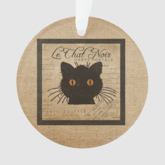 Burlap Le Chat Noir French The Black Cat Ornament