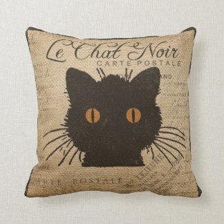 Burlap Le Chat Noir French The Black Cat Throw Pillows