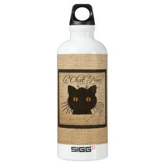 Burlap Le Chat Noir French The Black Cat Water Bottle
