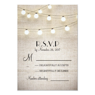 "burlap lights rustic elegant wedding RSVP cards 3.5"" X 5"" Invitation Card"
