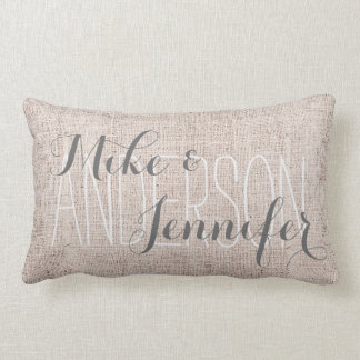Burlap-like Personalize Wedding Names Date Gift Pillows