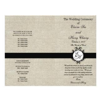 Burlap Linen Black Wedding Program Chic Monogram Flyer Design