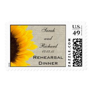 Burlap Linen Sunflower Photo Rehearsal Dinner Postage