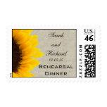 Burlap Linen Sunflower Photo Rehearsal Dinner Postage Stamp