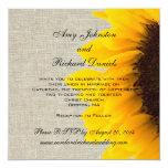 Burlap Linen Sunflower Rustic Wedding Invitation