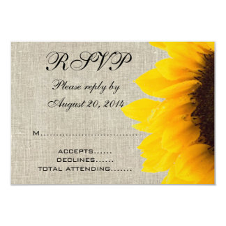 Burlap Linen Sunflower Rustic Wedding RSVP Custom Invitations