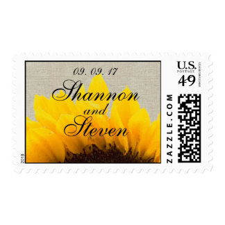 Burlap Linen Sunflower Save the Date Postage