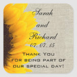 Burlap Linen Sunflower Thank You Wedding Favor Square Stickers