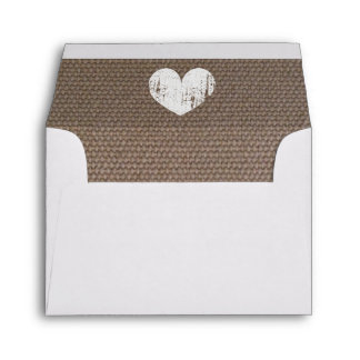 Burlap liner wedding envelopes with rustic heart