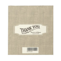 Burlap Look Candy Bar Wrap Notepad