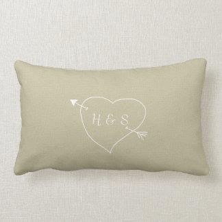 Burlap Look Initials & Heart Decorative Pillow