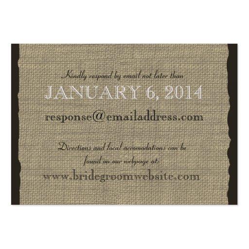 Burlap Look Insert card Business Card