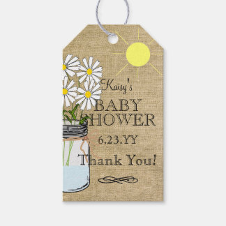 Burlap Look Mason Jar With Flowers Baby Shower Gift Tags