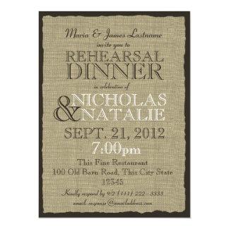 Burlap Look Rehearsal Dinner 5.5x7.5 Paper Invitation Card