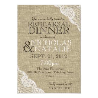 Burlap Look Rehearsal Dinner 5x7 Paper Invitation Card