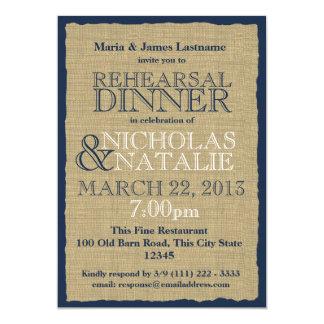 Burlap Look Rehearsal Dinner Navy Blue 5x7 Paper Invitation Card