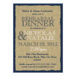 Burlap Look Rehearsal Dinner Navy Blue Custom Invite