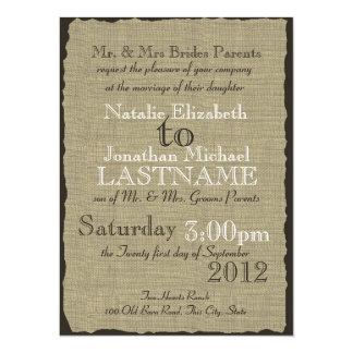 Burlap Look Rustic Wedding 5.5x7.5 Paper Invitation Card