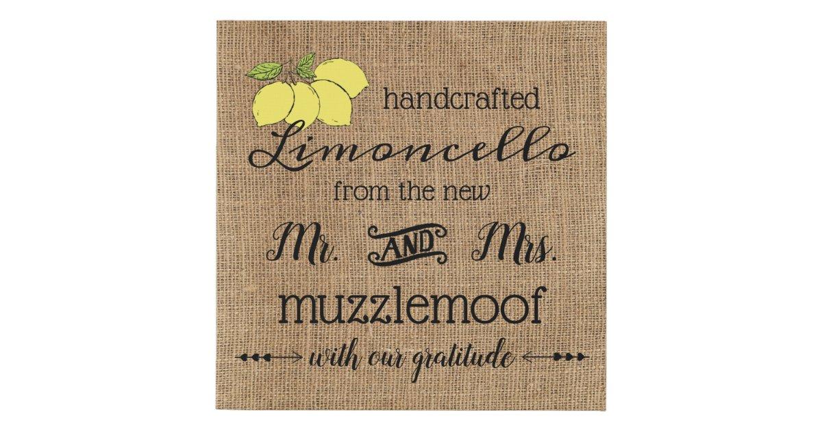 Burlap Look Sign For Limoncello Wedding Favors Zazzle