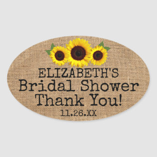 Burlap Look with Sunflowers Guest Favor Oval Sticker